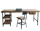 "For Kathi-  1.65"" top 72""x 20"" x 30"" Pipe desk: 2 shelves (11""w x 20""d) on left side, add kybrd tray and drawer, Dark Walnut finish"