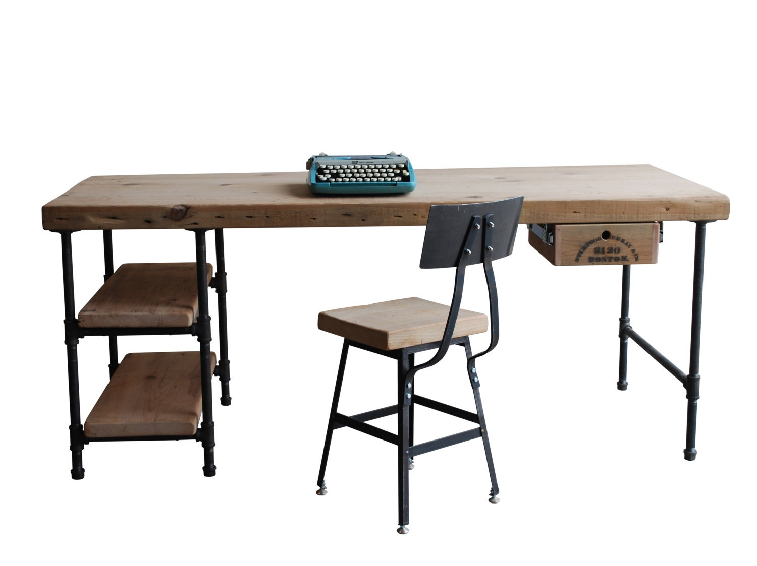 Modern wood desk reclaimed wood with steel legs in your for Metal desk with wood top
