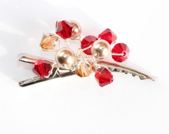 Crystal hair clip with red and gold crystals and champagne pearls for bridal, prom, bridesmaids