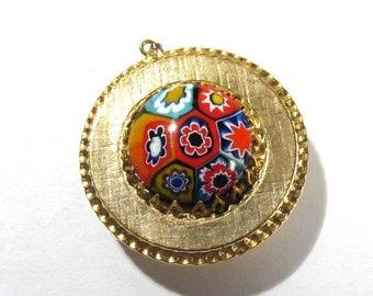 Murano Millefiori VINTAGE Pendant Watch Case Glass Venetian Glass Cabochon Gold Watch Case Watch Making Jewelry Supplies (D24)