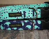 """Nautical Dog Collars """"Whales and Lifesavers in Green and Navy"""" Custom Dog Collar"""