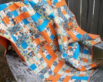 Orange Lap Quilt Throw Quilt Turquoise Green Brown Quilted Patchwork Quiltsy Handmade FREE U.S. Shipping