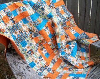 Throw Lap Quilt Orange Turquoise Green Brown Quilted Patchwork Quiltsy Handmade FREE U.S. Shipping