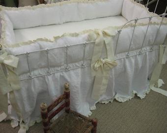 Ruffled Crib Bedding in Bright White and Cream Washed Linen-Ruffled Bumpers-Ruffled Crib Skirt-Ruffled Pillow in Heirloom