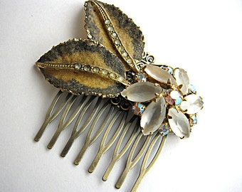Hair comb for bride, bridesmaid, mother of the bride or groom, rhinestone, frosted beads, and vintage golden leaves,  antique bronze