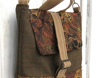Half off Christmas Sale - Messenger Bag, Satchel, Travel Bag, Laptop/Tablet, Brown Plaid, Burnt Orange, Suit Coat Bag, by Lily Whitepad