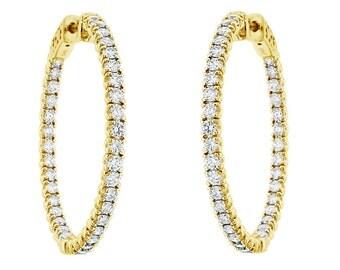 """Inside & Outside Diamond Hoop Earrings 14k Yellow Gold  2.90 Carat 1.25"""" inch"""