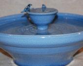 "Cat Drinking Fountain, Tabletop Fountain - Foodsafe, Ceramic  - 13.5 Inch Diameter -  ""Blue Bird Piazza"""