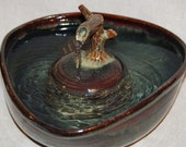 "Cat Fountain, Pet Fountain, Tabletop Fountain - Food safe, Ceramic - 10.25 Inch Diameter -  ""Mahogany Zen"""
