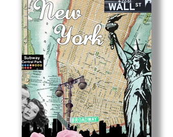 My New York. Mixed media vintage design with city icons. Size A3 fine art print.