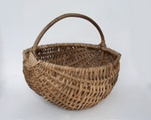 Large Round Wicker Basket - Antique French country home farmhouse cottage garden decor - Hand Woven