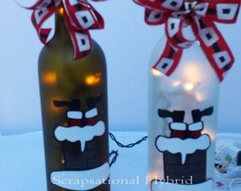 Lighted Wine Bottle, Christmas, Wine, Santa, Bottoms Up, Lights, Glass, Home Decor,