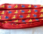Vintage Duck Trim,  Woven, Narrow Duck Trim or Ribbon, Little Yellow and Blue Ducks, 2 YARDS, 1/2 in wide,  Made in Greece, Baby Trim