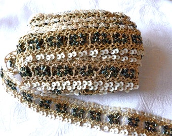 SALE, Hand Embroiderd Trim with Golden Zari Sequins, Glass Beaded Metallic thread and Lace Trim,  Metalic trim,  4 YARDS ,  7/8 inch wide