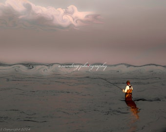 Fisherman, Ocean, Beach, Water, Color Photography, Popham Beach ,Maine, 8x10 and larger