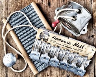 Blue Monday Vintage Laundry Room Clothes Line Pins Washboard Sprinkler Top