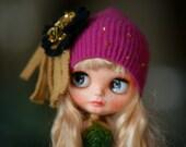 Slouchy Glamour Sparkle Black Embroidery Beads Angora Hat Blythe Hat OOAK Blythe Hat  Fantasy Hat Blythe Blythe Outfit Hat Blythe