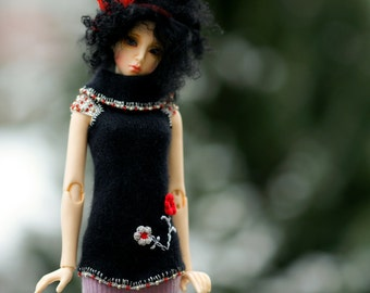 Glamour Wool Embroidery Black Angora Sparkle OOAK dress sweater SD Dollfie Ooak Abstract bjd  sd10 sd13 ball jointed doll Bjd dress