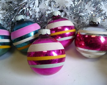 6 Vintage Christmas Ornaments glass Shiny Brite Striped Hot Pink , Red, Teal blue Supplies 1 3/4
