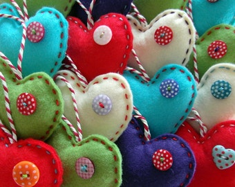 Felt and button 3'' hanging heart decorations x 5