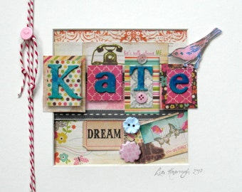 Customised Child's Name Artwork, 9'' x 9''' Mixed Media, Available framed or unframed