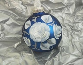 Blue Ornament White Rose Hand Painted Glass Christmas