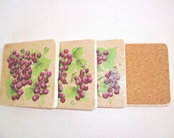 Coasters Shabby Chic Grapes Tumbled Stone Tiles Set of 4