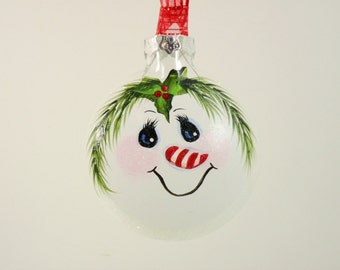 Snowman Ornament Holly Candy Cane Nose Hand Painted Glass