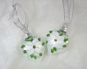 Poinsettia Christmas Ornament Heart Shaped Glass Hand Painted White Poinsettia Set of 2