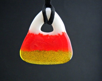 Candy Corn Fused Glass Pendant