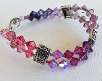 """Rose, Pink & Purple Shades Swarovski 7"""" Bracelet, wave bracelet, lavender, violet, amethyst, fuchsia, salmon, light pink, gift for her"""