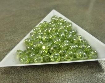 Olivine Shimmer Czech Glass Potato 6x4mm 50pc