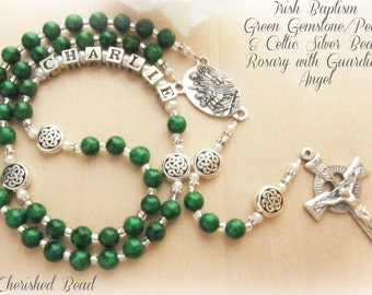 Beautiful Irish Baptism Green Gemstone/Pearl & Silver Celtic Knot Rosary with Guardian Angel - For either Boy or Girl