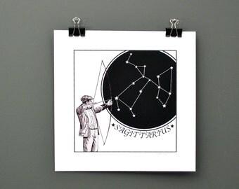Sagittarius Digital Print, Zodiac Print of Sagittarius The Archer - All Twelve Horoscope Signs Available - Original Digital Astrology Print