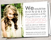 Boy/Girl Printable Baptism Invitation/Announcement (Jessica)