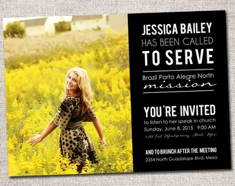 Missionary Announcements--Missionary Card (Called to Serve Missionary farewell invitation)