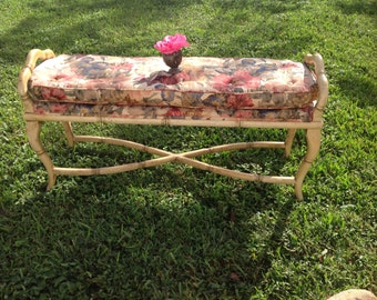 FAUX BAMBOO X Base Bench Hollywood Regency Almost 4 Foot Long Chinoiserie Style On Sale at Retro Daisy Girl