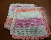 Pink, Orange, White 100% Cotton Dishcloths, Set of 2