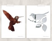 bird silhouette in red and white, bird print set, digital silhouette art, set of 2, woodland nursery, whimsical animal art, hummingbird art