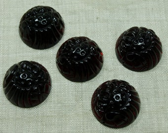 Set of 5 Transparent Cranberry Vintage German Glass Domed Cabochon from the 1940s. VGL546