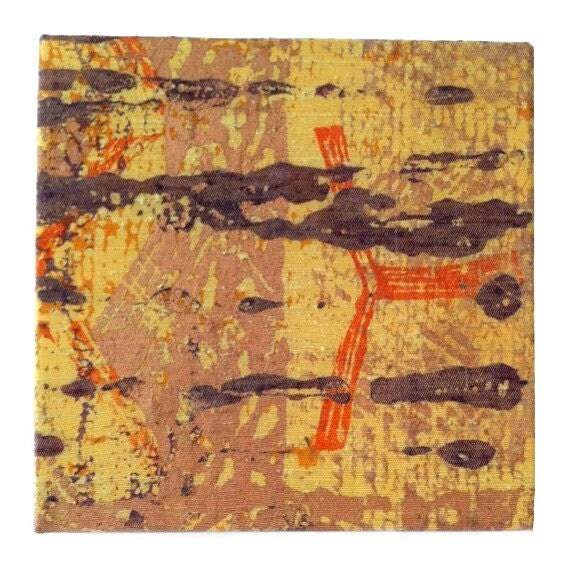 Wall Decor, Textile Art Abstract Church Screenprint, Luxe Home Decor in yellow gold, orange, coffee and copper, Wedding Gift, Statement Art