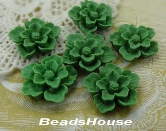 20% OFF - 345-AH-CA  6pcs Beautiful Sakura Cabochons - Deep Green