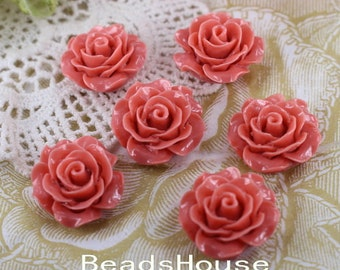 696-00-CA  6pcs (20mm) Beautiful Roses Cabochon- Dusty Pink