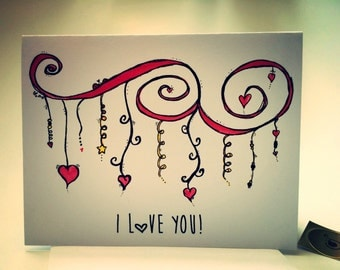 Love Doodle Card, I love you, that is all, zen dangle doodle card, made on recycled paper, comes with envelope and seal