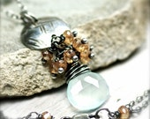 Rustic Sea Foam Chalcedony and Mystic Quartz Necklace on Oxidized Sterling Silver