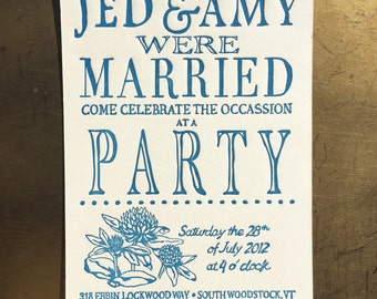 Letterpress Wedding Invitations - Garden Party