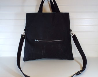 Hand-Waxed Canvas Foldover Tote, Black