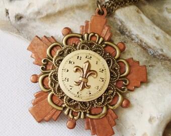 Necklace Vintage Watch Dial World War II Copper Medal Pendant Fleur de Lis Filigree Copper Healing   C 7-16