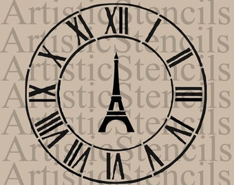 STENCIL Eiffel Tower Antique Clock  Various sizes