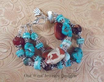 Cowgirl Bracelet - Chunky Aqua Howlite Turquoise - Jasper - Fire Agate